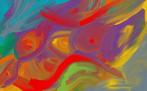Messy coloruful angry owl man